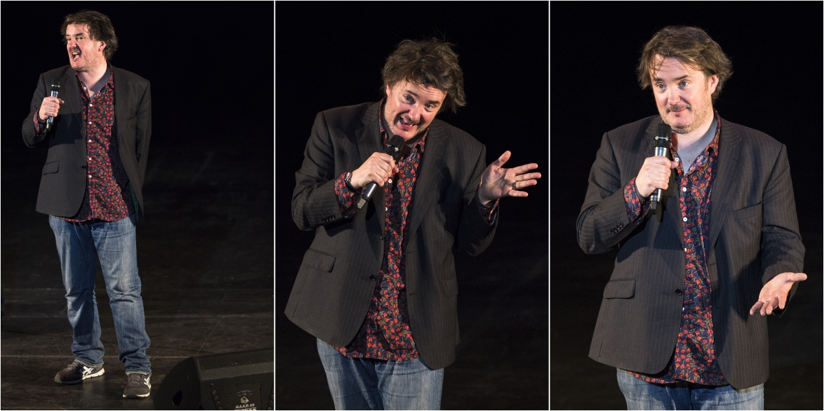 Irish comedian Dylan Moran performs in his newest show, Off the hook, on his first visit to South Africa, in Grahamstown on 3 July 2015, at the National Arts Festival. Moran is also a writer, actor and filmmaker who, at 24, became the youngest person to win the prestigious Perrier Comedy Award in 1996 at the Edinburgh Fringe (Photo: CuePix/Mia van der Merwe).