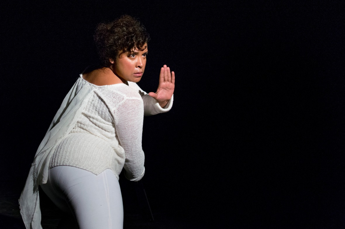 Iman Isaacs features in the Penny Youngleson theatre piece, Full stops on your face, in the Hangar venue in Grahamstown on 2 July 2015, at the 2015 National Arts Festival. The one woman performance discusses social injustices within Islamic contexts, bring